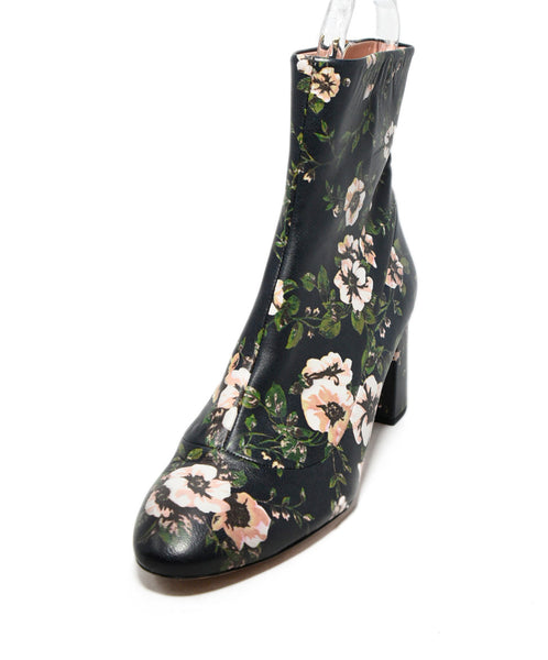 Rochas Blue Pink Floral Leather Booties 1