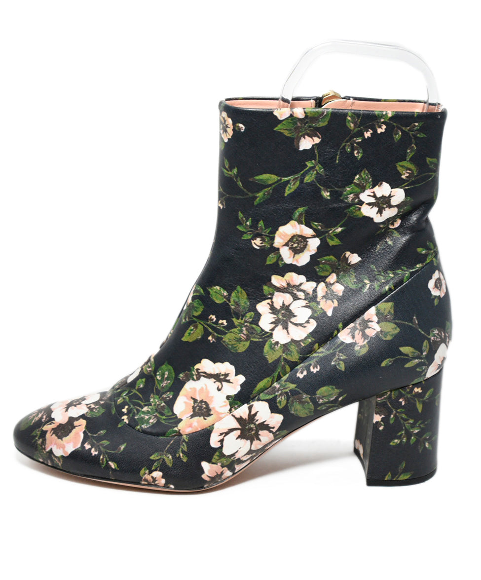 Rochas Blue Pink Floral Leather Booties 2