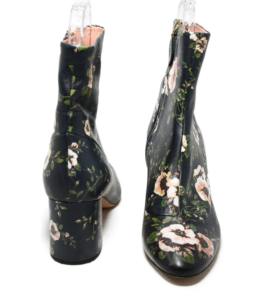 Rochas Blue Pink Floral Leather Booties 3