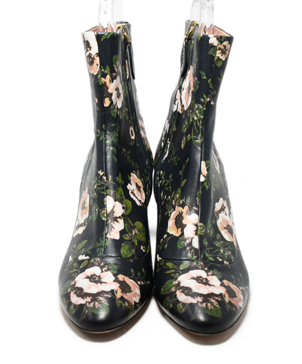 Rochas Blue Pink Floral Leather Booties 4