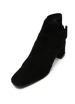 Roger Vivier Black Suede Buckle Booties 1