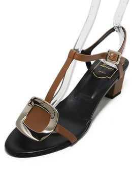 Roger Vivier Brown Strappy Leather Sandals 1