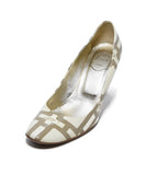 Roger Vivier Cream Taupe Print Patent Shoes 1