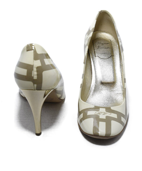Roger Vivier Cream Taupe Print Patent Shoes 3