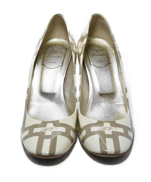 Roger Vivier Cream Taupe Print Patent Shoes 4