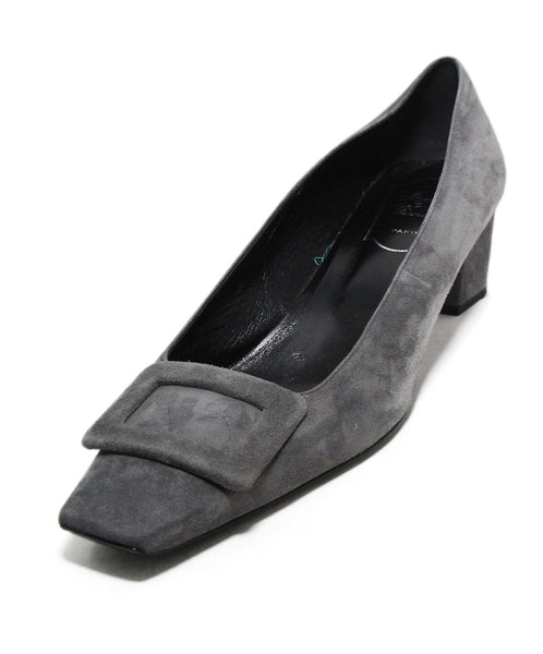 Roger Vivier Grey Suede Buckle Trim Shoes 1