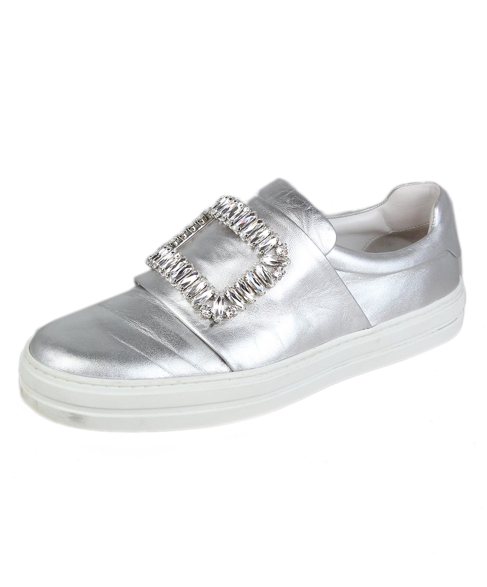 Roger Vivier Metallic silver leather rhinestone buckle sneakers 1