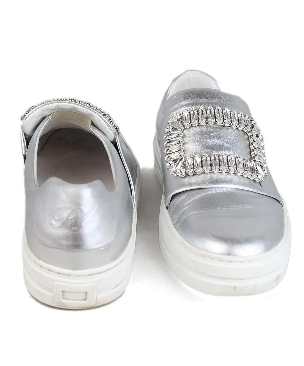 Roger Vivier Metallic silver leather rhinestone buckle sneakers 3