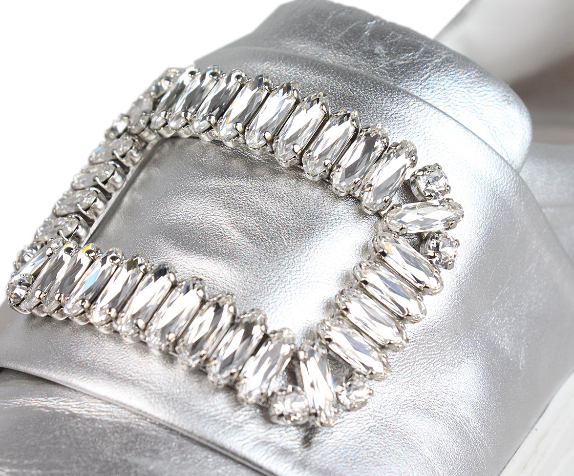 Roger Vivier Metallic silver leather rhinestone buckle sneakers 6