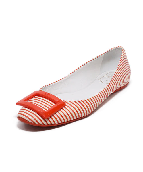 Roger Vivier Orange White Striped Leather Flats 1