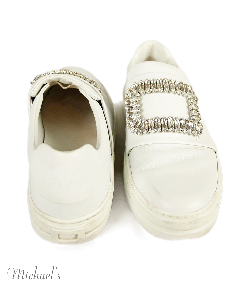 Roger Vivier White Leather Rhinestones Shoes Sz 37.5