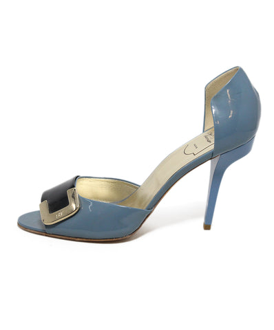 Roger Vivier Blue Black Patent Leather Heels 1