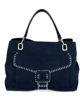 Roger Vivier Blue Navy Suede Silver Piping Shoulder Handbag 1