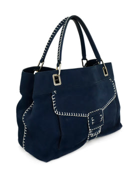 Roger Vivier Blue Navy Suede Silver Piping Shoulder Handbag 2