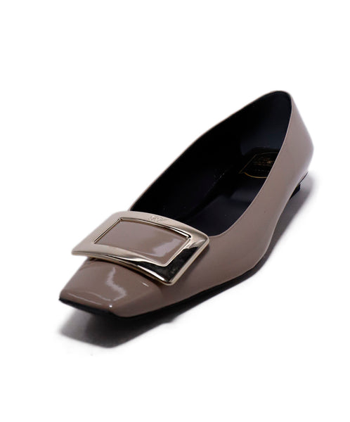 Roger Vivier Neutral Taupe Patent Leather Flats 1
