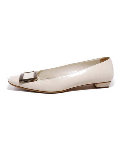 Roger Vivier White Leather Gold Buckle Kitten Heels 1