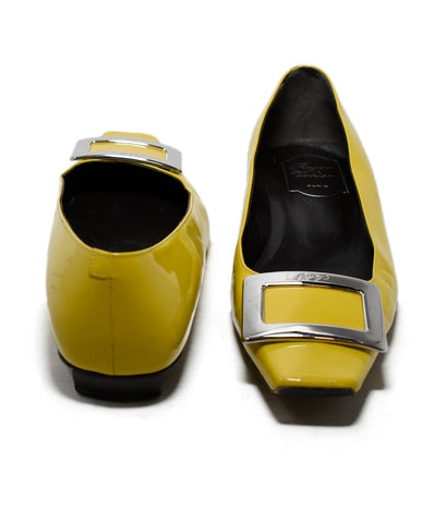Roger Vivier Yellow Patent Leather Silver Buckle Flats 1