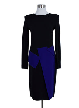 Roland Mouret Black Royal Blue Viscose Acetate Dress 1
