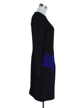 Roland Mouret Black Royal Blue Viscose Acetate Dress 2