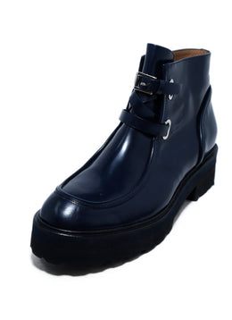Rossetti Blue Navy Leather Buckle Trim Booties 1