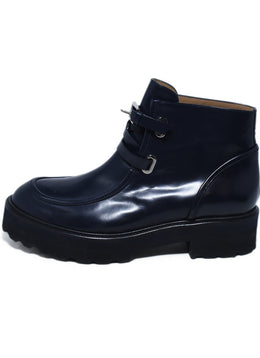 Rossetti Blue Navy Leather Buckle Trim Booties 2