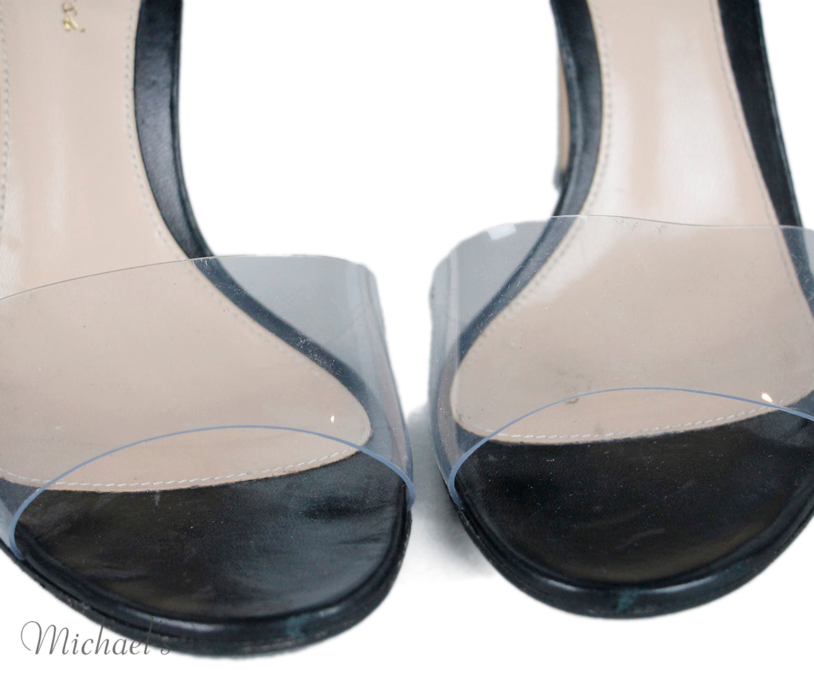 Gianvito Rossi Black Leather Clear Plastic Shoes Sz 36.5
