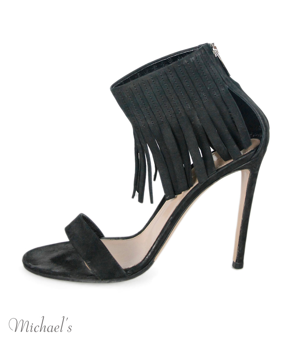 Gianvito Rossi Black Suede Fringe Shoes Sz 38.5