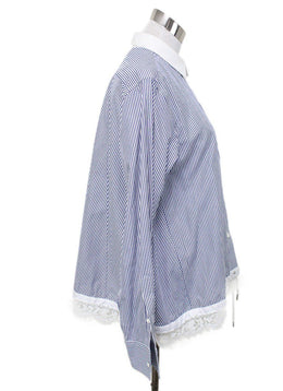 Sacai Blue White Stripes Cotton Polyester Lace Top Sz 4
