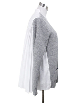 Sacai Grey White Wool Polyester Cotton Top Sz 4