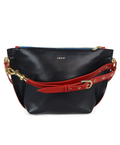 Sacai navy red leather Trapezoid bag 1