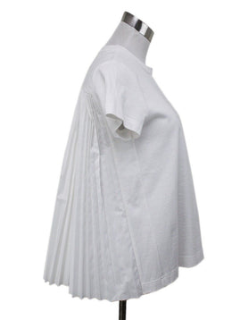 Sacai White Shirt With Pleated Back Detail Sz 4