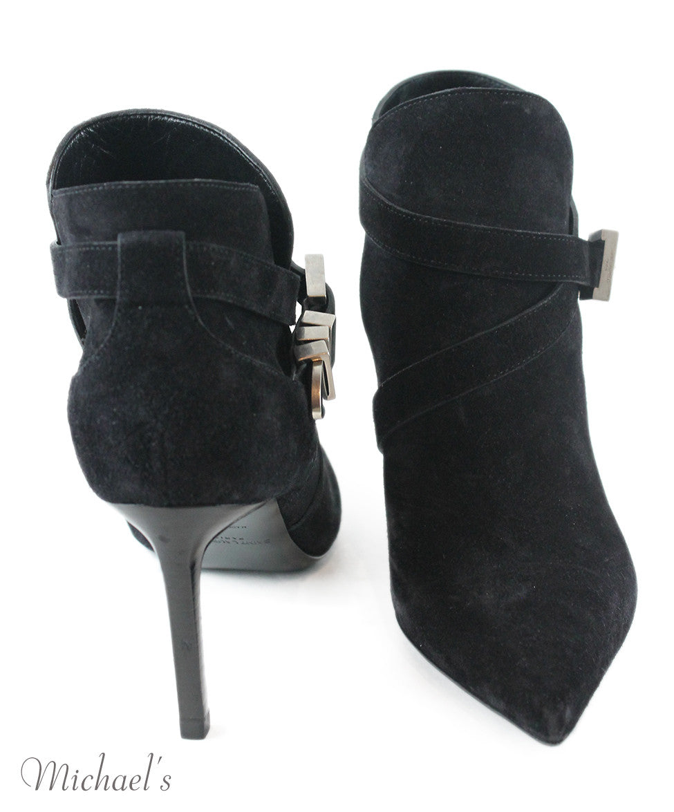 Saint Laurent Black Suede Silver Hardware Booties Sz 35.5 - Michael's Consignment NYC  - 3