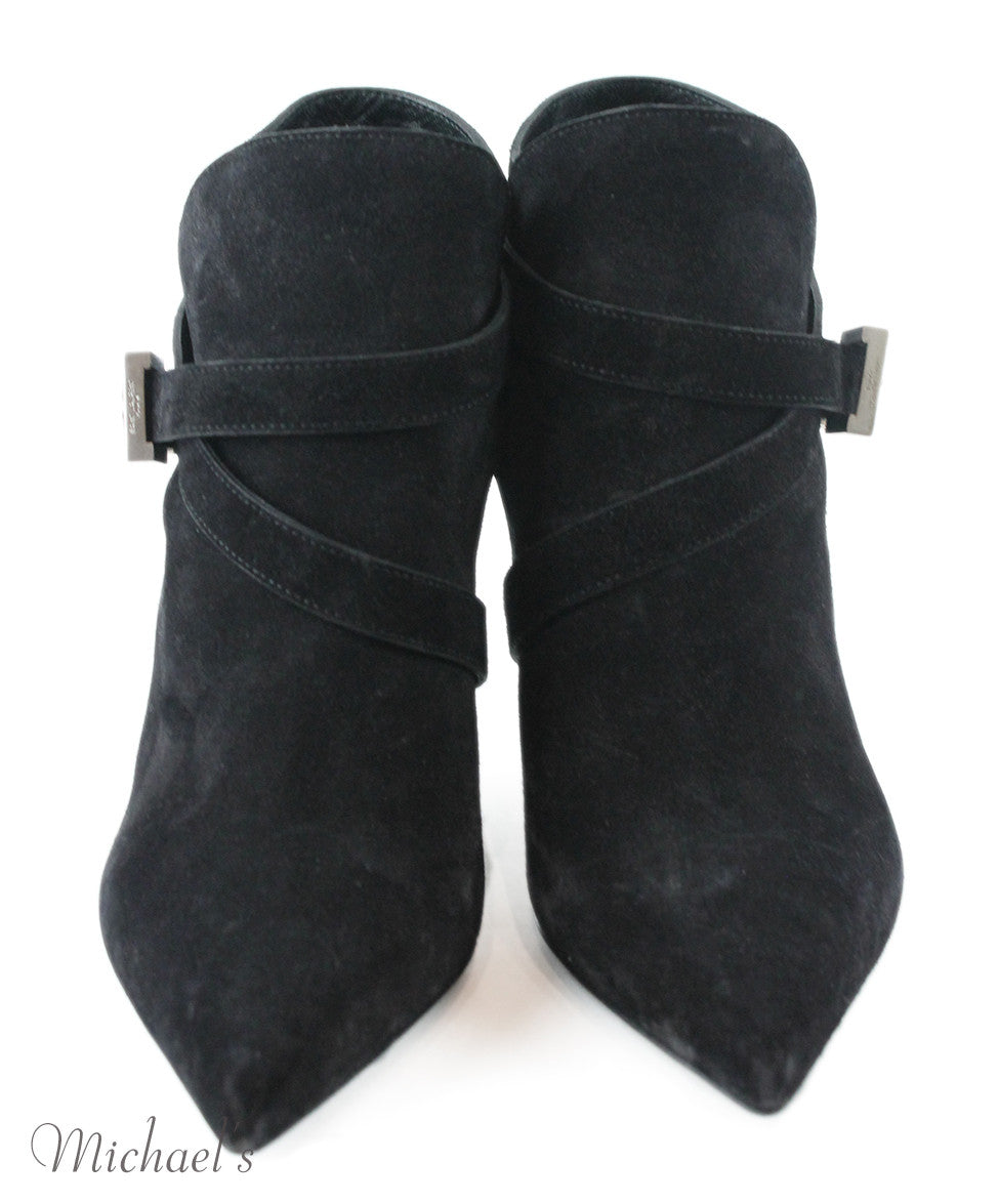 Saint Laurent Black Suede Silver Hardware Booties Sz 35.5 - Michael's Consignment NYC  - 4