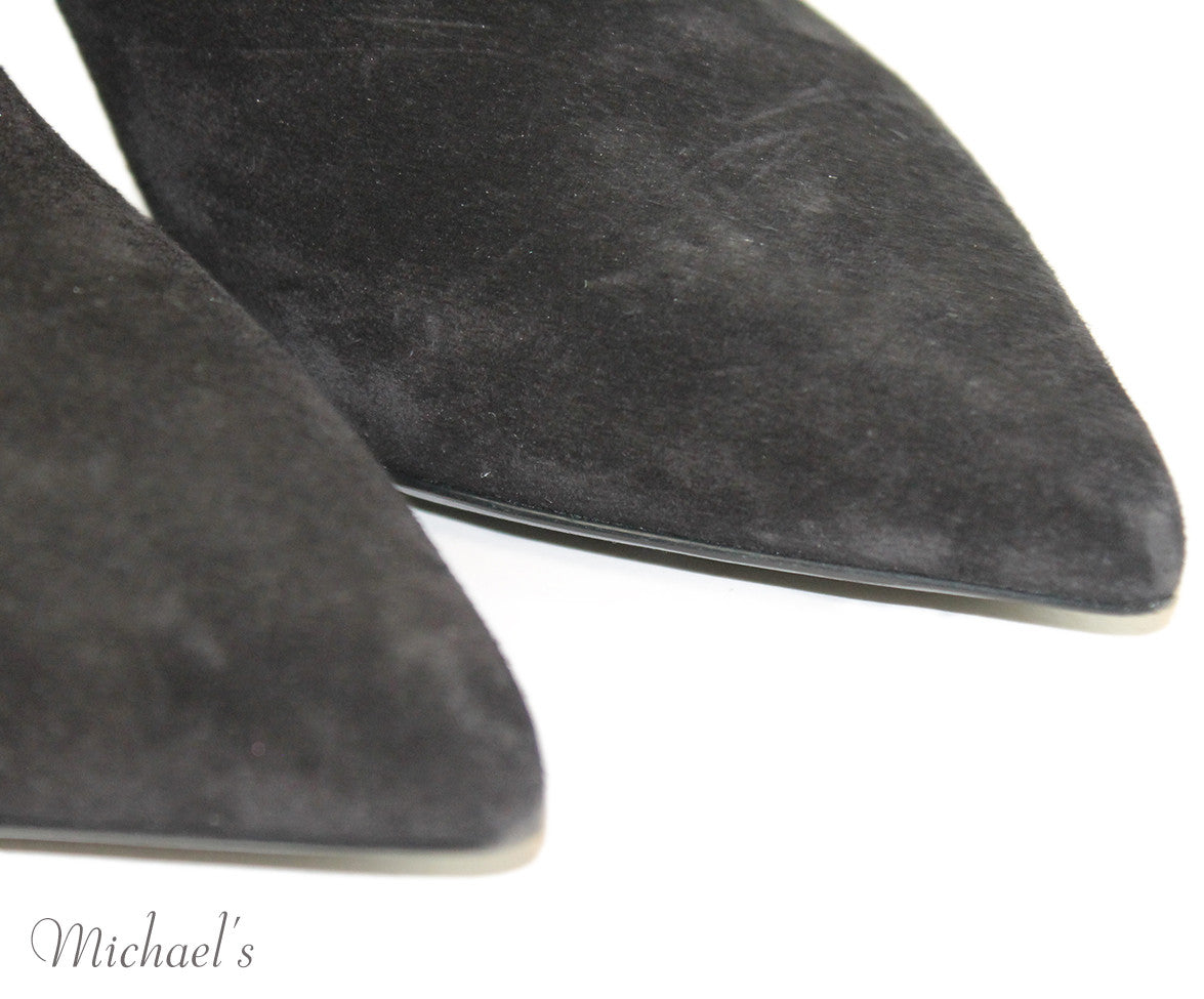 Saint Laurent Black Suede Silver Hardware Booties Sz 35.5 - Michael's Consignment NYC  - 8