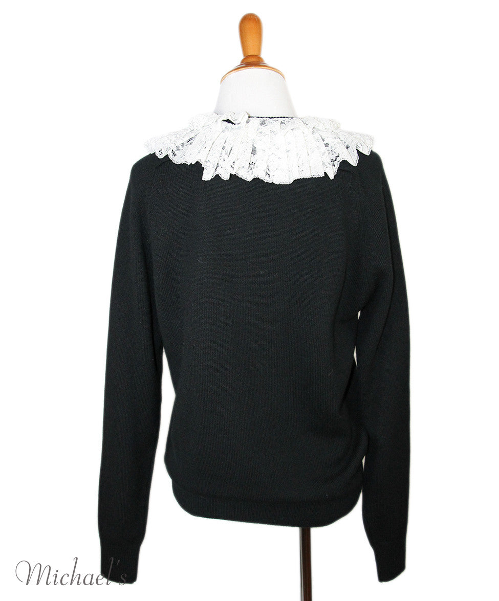 Saint Laurent Black Cashmere White Lace Sweater Sz L