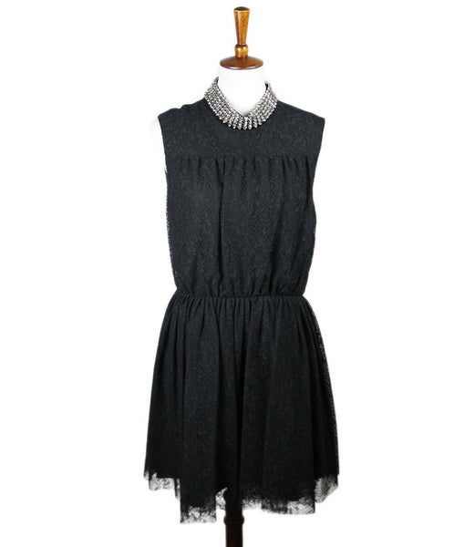 Saint Laurent Black Lace Studs Dress Sz 44
