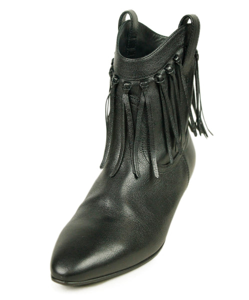 Saint Laurent Black Leather Fringe Booties 1