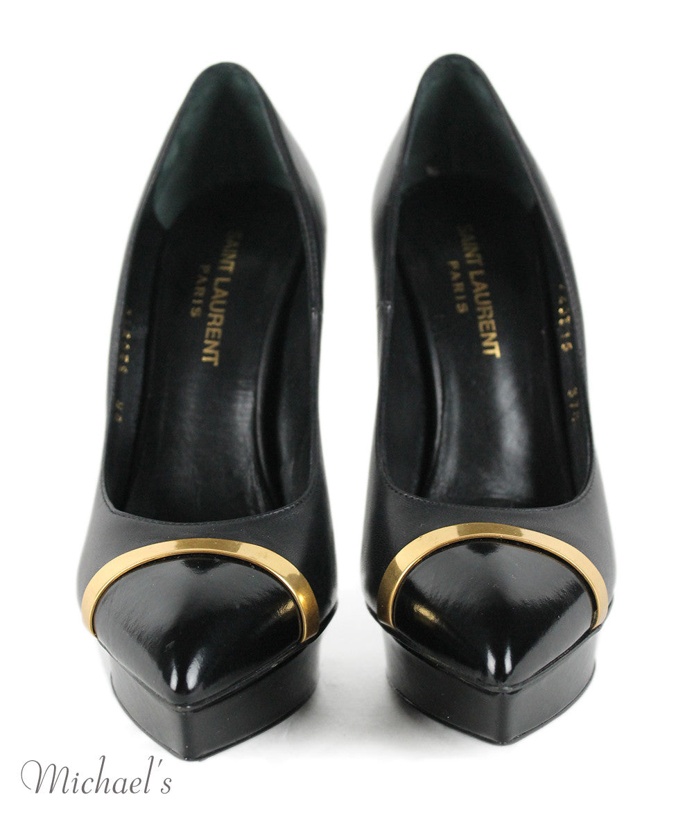 Saint Laurent Black Leather Gold Trim Shoes Sz 37.5 - Michael's Consignment NYC  - 4