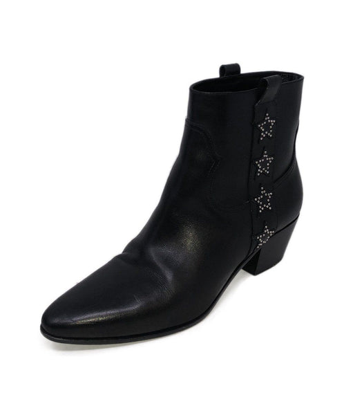Saint Laurent Black Leather Studs Stars Booties