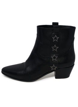 Saint Laurent Black Leather Studs Stars Booties 1