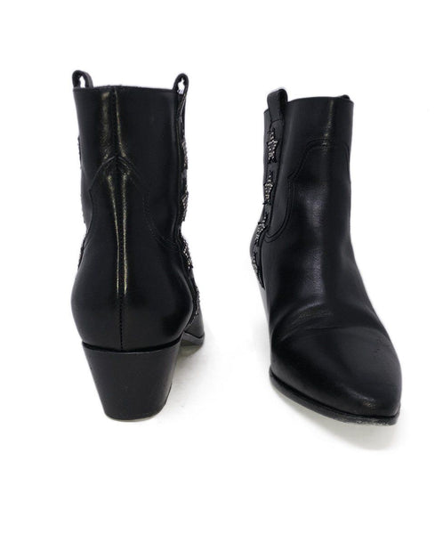 Saint Laurent Black Leather Studs Stars Booties 3