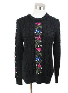 Saint Laurent Black Pink Floral Wool Sweater 1