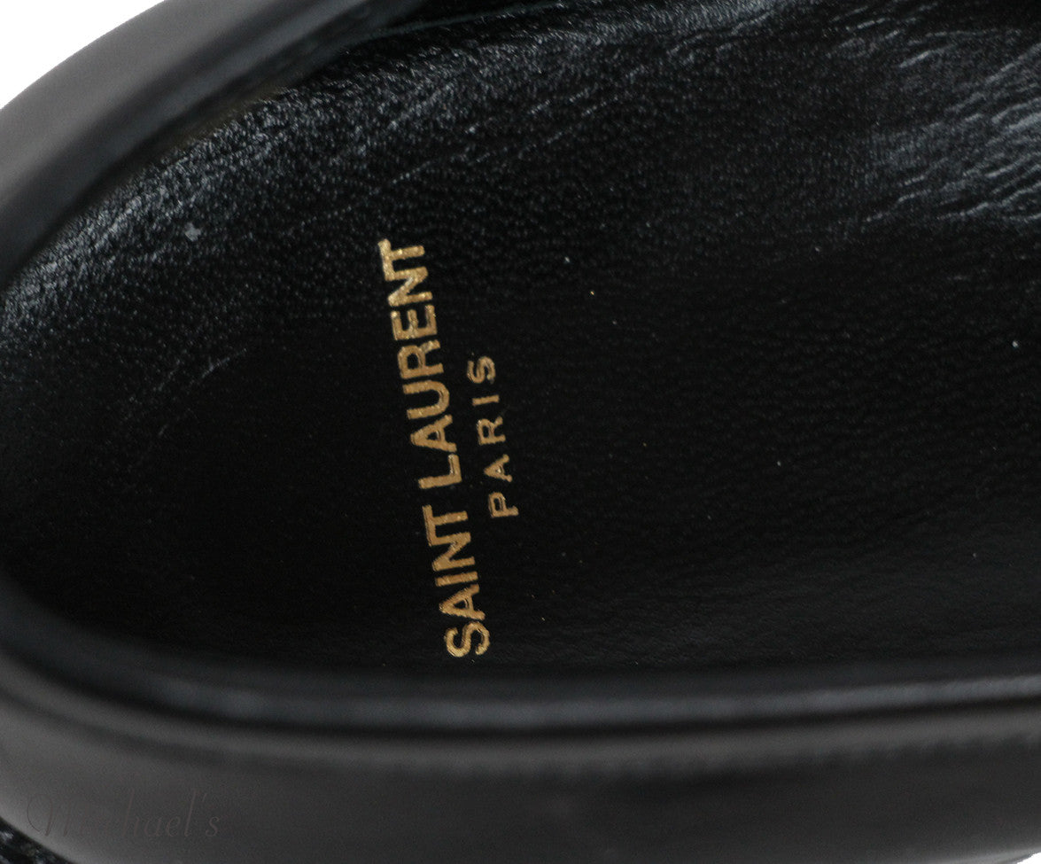 Saint Laurent Black White Leather Shoes Sz 36