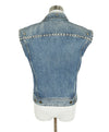 Saint Laurent Blue Denim Silver Studs Vest Outerwear 3