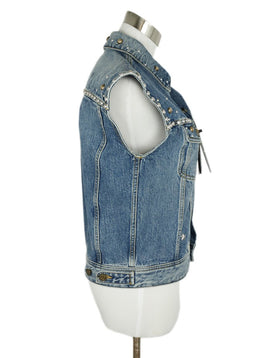 Saint Laurent Blue Denim Silver Studs Vest Outerwear 2