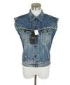 Saint Laurent Blue Denim Silver Studs Vest Outerwear 1