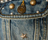 Saint Laurent Blue Denim Silver Studs Vest Outerwear 6