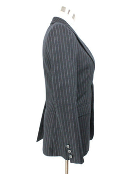 Saint Laurent Navy Pinstripes Wool Blazer 2