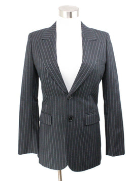 Saint Laurent Navy Pinstripes Wool Blazer 1