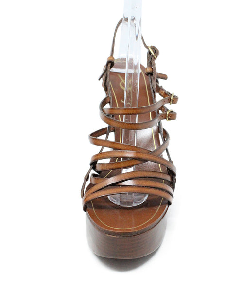 Saint Laurent Brown Leather Wedge Sandals 2